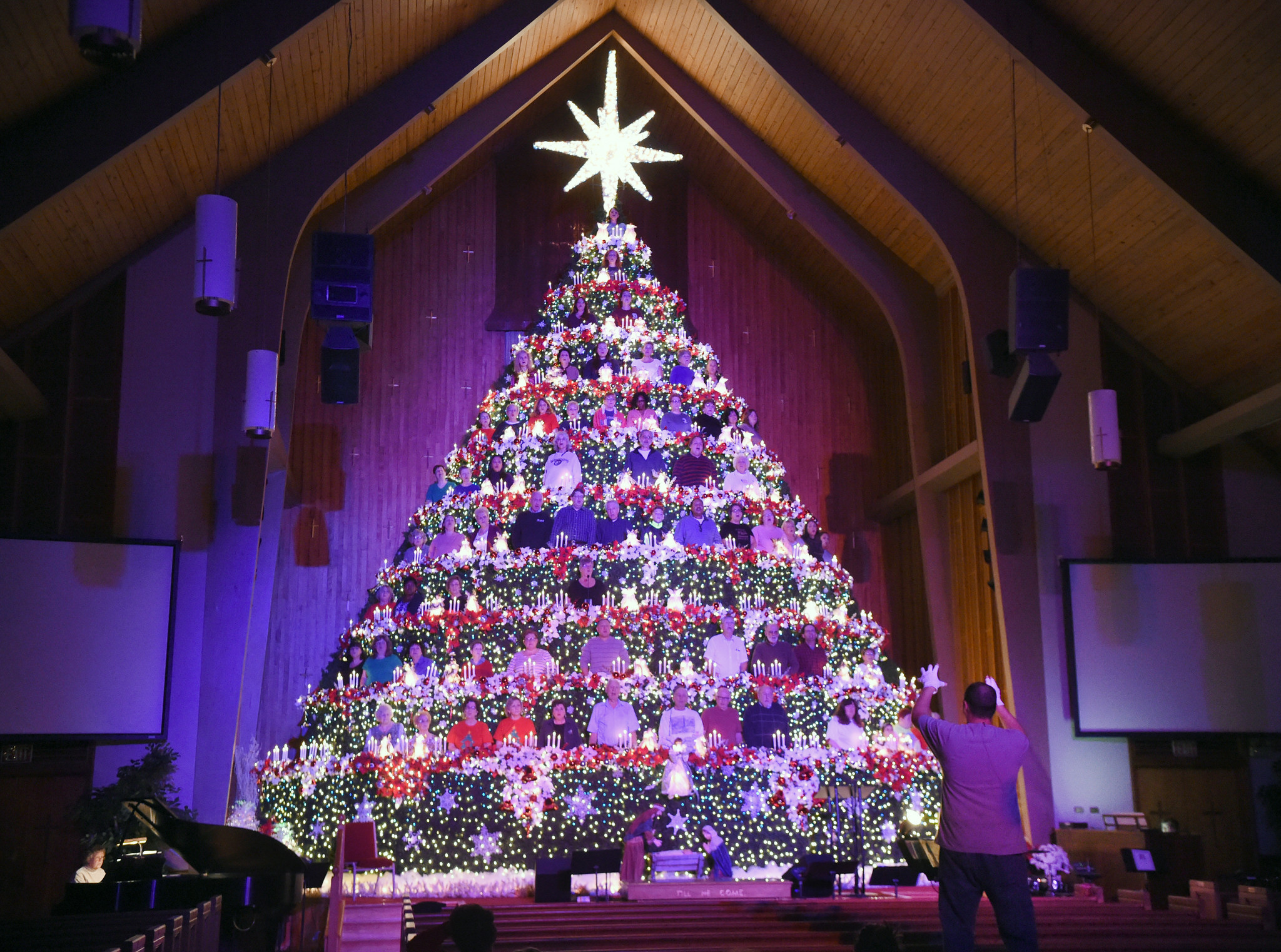 Living Christmas Tree.Oak Grove Baptist S Living Christmas Tree Returns To Harford