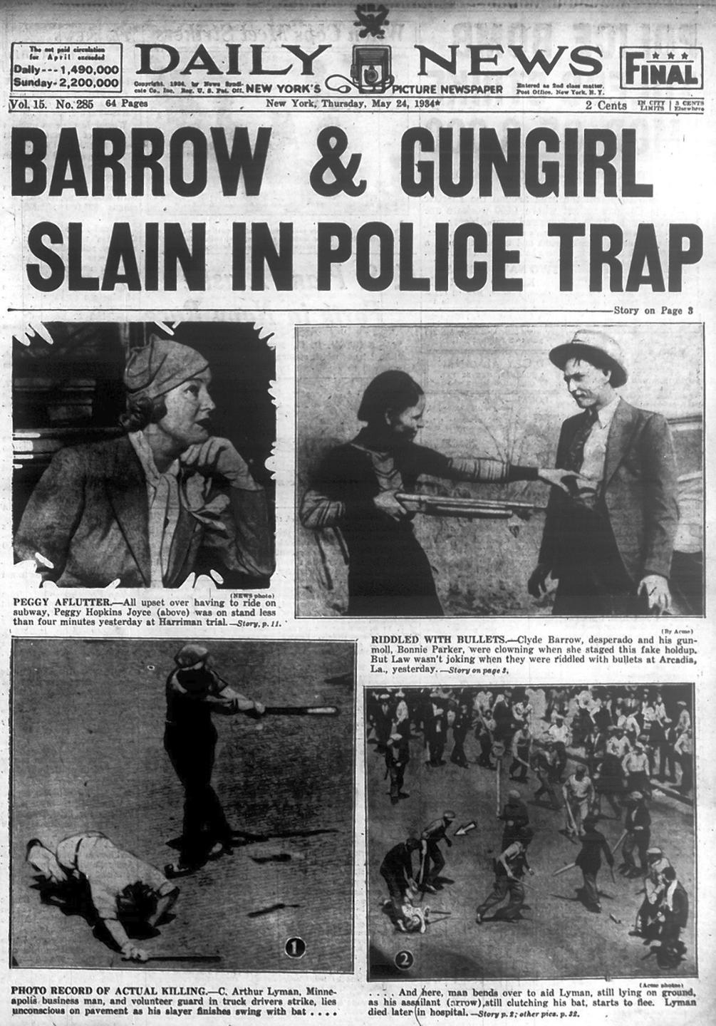 Bonnie Parker and Clyde Barrow are killed in police ambush in 1934