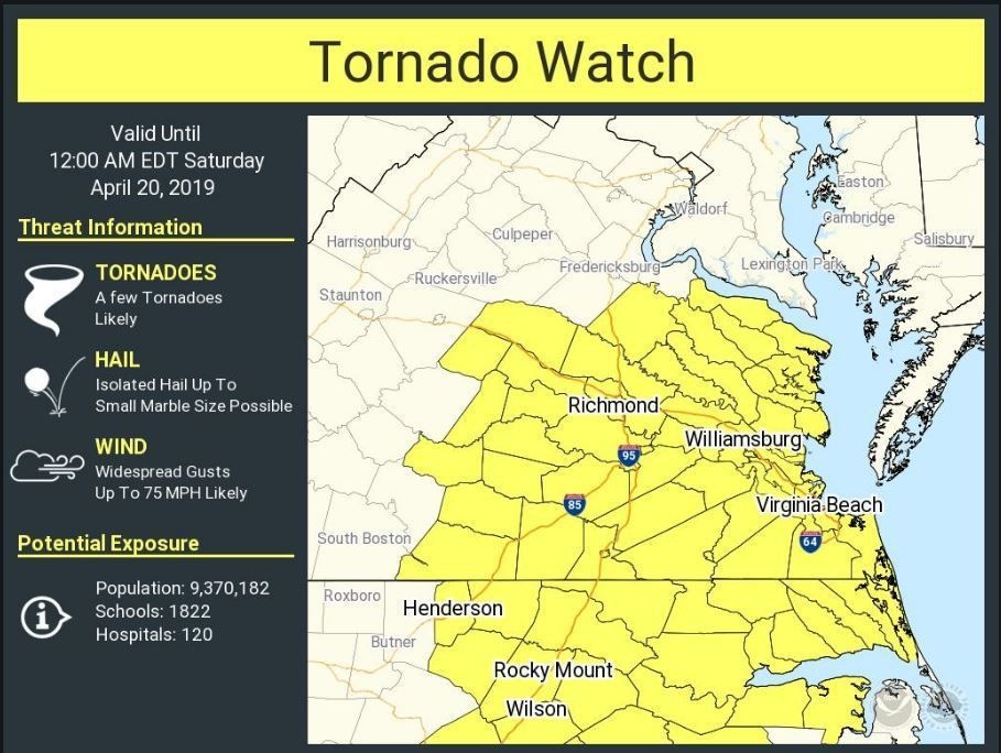 Tornado watch issued for Hampton Roads as severe storms