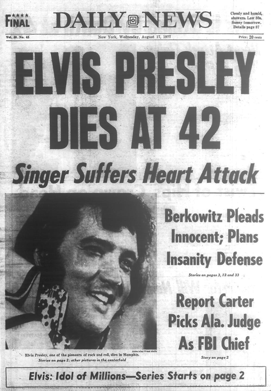 Elvis Presley, the King of Rock 'n' Roll, dies in 1977 - New