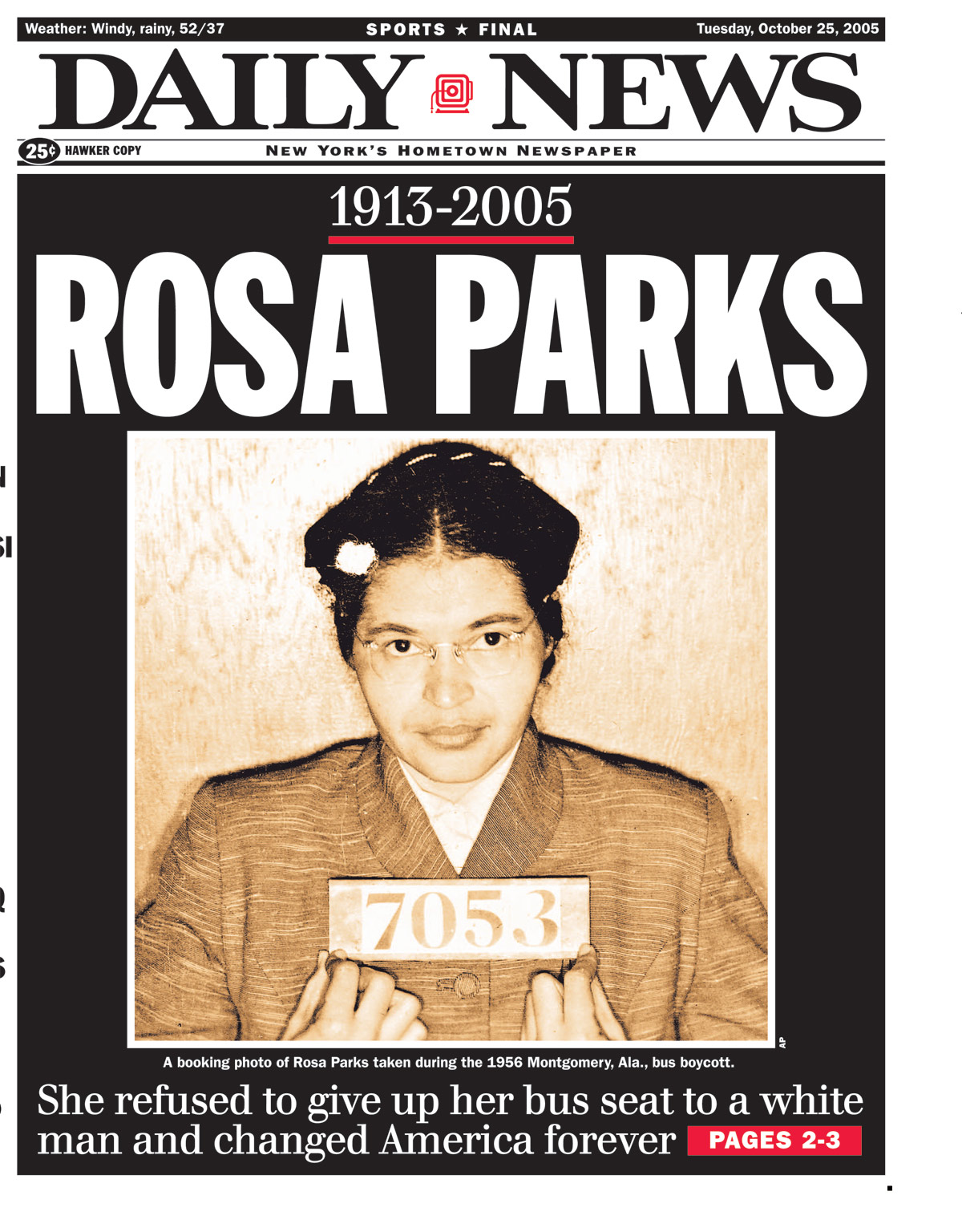 Rosa Parks, civil rights activist, dies at 92 in 2005 - New